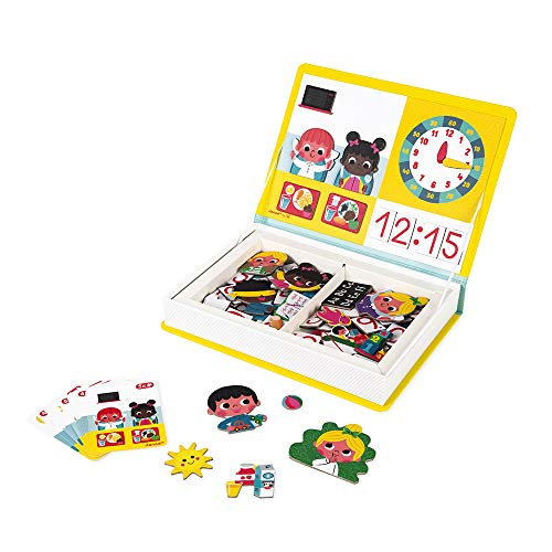 Janod MagnetiBook 94 pc Magnetic Tell The Time Game for Creativity and Motor Skills - Book Shaped Travel/Storage Case Included - S.T.E.M. Toy for Ages 3+