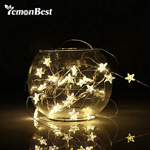 Renqian 2 / 3M snoer LED Verlichte Decoratie Feestelijke licht-batterij aangedreven Waterdichte ster koperdraad lamp binnen buiten kerstbruiloft Warm Wit 2M