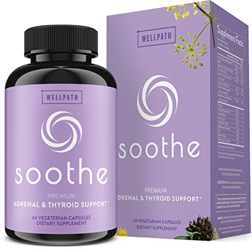 Soothe Thyroid Support and Adrenal Support Supplement - 2 in 1 Natural Vegan Formula to Support Energy, Metabolism, Adrenal Fatigue Relief, Stress Response, and Cortisol Balance