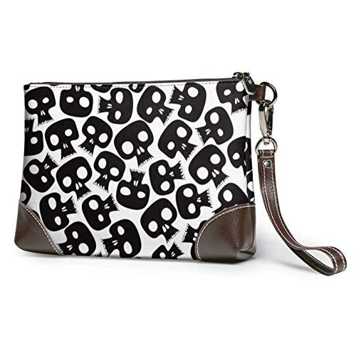 XCNGG Bolso de mano con estampado de calaveras, bolso de mano de cuero desmontable, bolso de mano para mujer