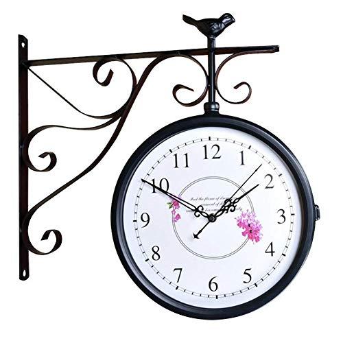 Reloj Reloj de Pared de Doble Cara Casa de Campo Sin tictac Funciona con Pilas Sala de Estar Vintage Pasillo Decoración de pájaro rústico 3D