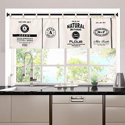 IMIKEYA Window Valances Kitchen Farmhouse Vintage Cotton Window Treatment Curtains Valances Short Curtains Window Valances for Dining Room Kitchen, 55x17.7 Inches