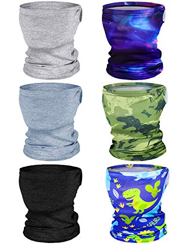 Boao 6 Pieces Kids Summer Neck Gaiter Ice Silk Face Cover Bandanas Non-Slip Balaclava Neck Cover (Solid and Printed Color)