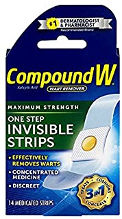 Compound W One Step Invisible Strips | Wart Removal | 14 Count (Pack of 1) Strips