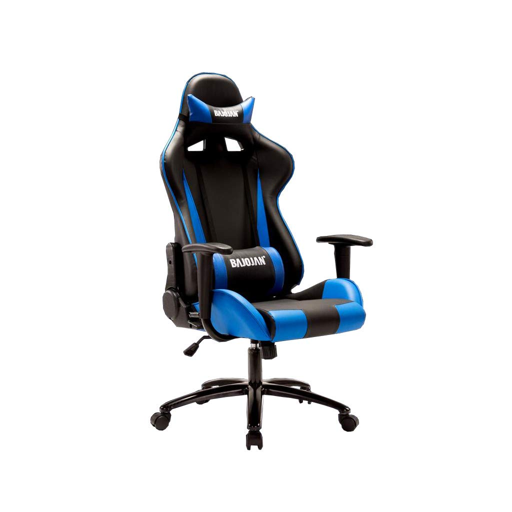XUERUI 快適 電子スポーツチェアレーシングシートコンピュータチェアゲームチェア人間工学に基づいたコンピュータチェアリクライニングランチブレイク 耐久性のある (色 : 青)