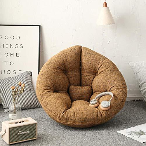 Cómodo sofá Perezoso Individual puf sillón reclinable pequeño apartamento Dormitorio Linda Chica Tatami Sala de Estar sofá-S-Lino-café