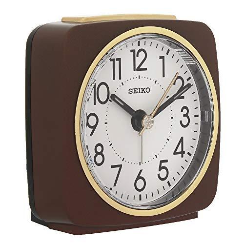 Seiko White Dial Brown Square Alarm Clock