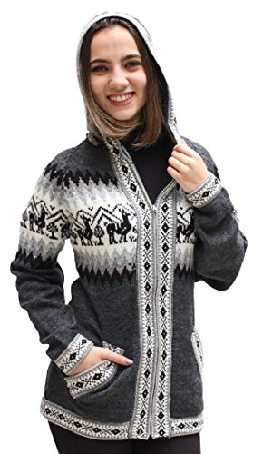 Little Llamas Hooded Alpaca Wool Knitted Jacket Hoodie Sweater (Large, Gray)