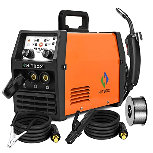 HITBOX Mig Welder ARC Lift Tig Mig Galess3 In 1 220V 120A No Gas Flux Core Wire IGBT Multi Function Welding Machine (Model: HBM1200) (Renewed)