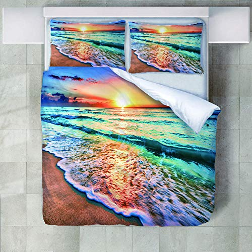 JNBGYAPS 3D Effect Printed duvet cover Colourful beach in the sunset Bedding set with Pillocases (with Zipper Closure) Soft Microfiber Quilt Cover Single135X200cm