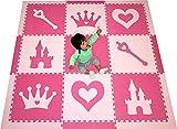 SoftTiles Princess Theme Foam Playmat   Princess Decor   Nontoxic Interlocking Floor Tiles for Girls Playrooms & Baby Nursery   Light Pink and Dark Pink- 6.5' x 6.5 ft.- SCPRIPC