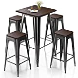 VIPEK Metal Bar Table Chair Set 41.3' H Square Dining Table & 4Pcs 30' H Barstool Dining Stool Bar Chairs w Solid Wood Top Bistro Pub Patio Cafe Restaurant Home Kitchen, Gloss Black