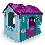 INJUSA - Casa de Juguete Frozen Color Azul Recomendada a Niños +3 Años con 2 Puertas de Acceso con Buzón y Pestillo y 2 Ventanas