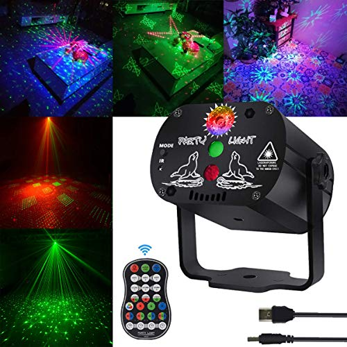 Stage Laser and led Lights KisMee DJ Disco Projector Party Lights Sound Activated Time Function with Remote Control for Xmas Club Bar Halloween Decorations Gift Birthday Wedding (USB No Battery)