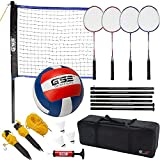 GSE Games & Sports Expert Portable Badminton Volleyball Combo Set. Including Volleyball/Badminton Net, 4 Badminton Racquets, 3 Shuttlecocks and Volleyball (Recreational Set)