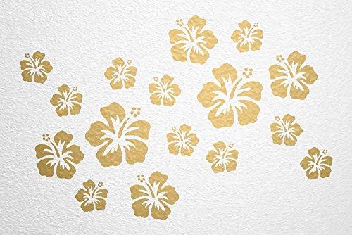 WANDfee Wandtattoo Hibiskus Blumen Hibiskusblüten FARBWUNSCH Wandaufkleber Fliesenaufkleber gold gold