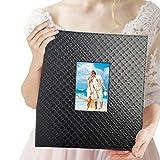 Album fotografico di famiglia 10x15 cm 600 foto - Elegante album fotografico in pelle slip-in verticale e orizzontale 10x15 cm immagini con finestra, nero
