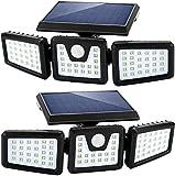 Deals - Faro LED exterior con panel solar con sensor de movimiento, farola de 3 cabezas, 270º Iluminación IP65 impermeable