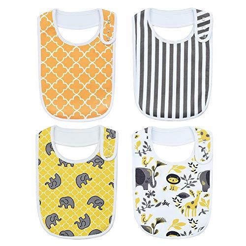 iZiv Baberos del Bebé - Paquete de 4 Diseños Pañuelo con Snaps Ajustables, TPU Impermeable Guarnición para niño 0-2 años