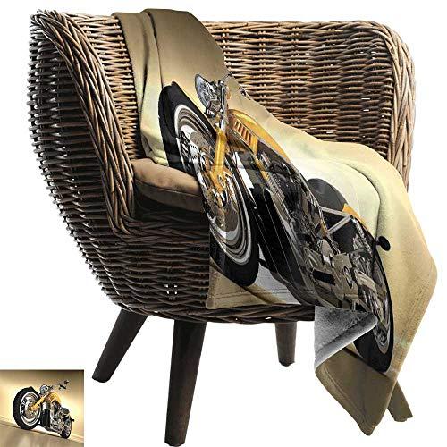 ZSUO pluche deken Motorfiets, Beroemde bromfietsen in Cartoon Stijl Retro Italiaanse Scooters Multi kleuren Alle seizoenen Licht Gewicht Woonkamer/slaapkamer