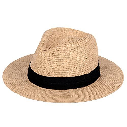 Straw Hat for Women Beach Hats Summer Sun Panama Wide Brim Floppy Fedora Cap UPF50+(A02-Brown)