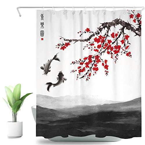 SVBright Koi Red Pflaume Duschvorhang Blossom Bloom Trees 152 x 183 cm (B x L), japanische Tinte Malerei Kunst 12 Pack Haken Polyester Wasserdicht Stoff Badezimmer Badewanne Paneele