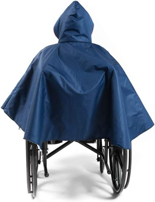 Warm Wheelchair Winter 2021 model Poncho Sale SALE% OFF with Sherpa-Like Blue Lining Navy