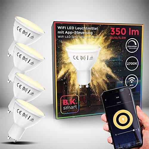 B.K.Licht I 4er Set LED GU10 Wi-Fi Lampe I 5,5 Watt I 350 Lumen I 2.700K Warmweiß I Dimmbar I App- Sprachsteuerung Alexa Google Home I iOS & Android I WLAN Glühbirne I Smartes Leuchtmittel