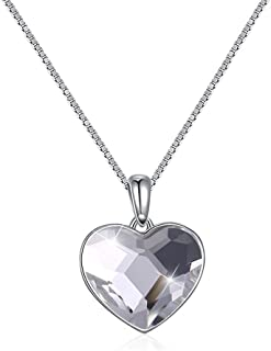 Home Crystal Ornaments European and American Style Sterling Silver 925 Love Heart Pendant Necklace (Color : White) Girls Necklace (Color : White)