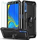 iVoler Cover per Samsung Galaxy A7 2018 con 3 Pezzi Pellicola Vetro Temperato, Grado Militare Custodia Protezione con Anello Ruotabile Cavalletto, Antiurto TPU Bumper Case - Nero
