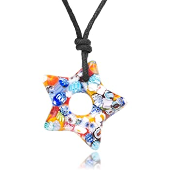 "Chuvora Millefiori Murano Glass Multi-Colored Dangling Star Pendant 30 mm Adjustable Necklace 15/""-30/"""