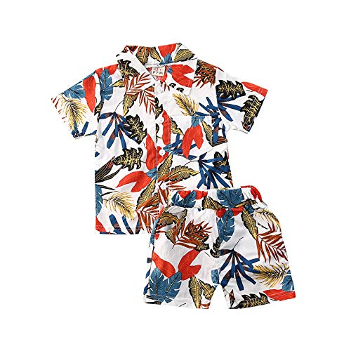 Toddler Baby Boys Summer Shorts Set Floral Outfits Button Down Shirt Top Bermuda Shorts Hawaiian Clothes 2 PCS (01 Floral Boys Shorts Leaves White, 3-4T)