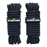 """Sea Rock Marine 15' x 3/8"""" Premium Double Braided Nylon Dock Lines (2 Pack) with 12"""" Eyelet & Dock Line Ties - Dock Lines for Boats, Marine Rope, Boat Accessories - Black"""