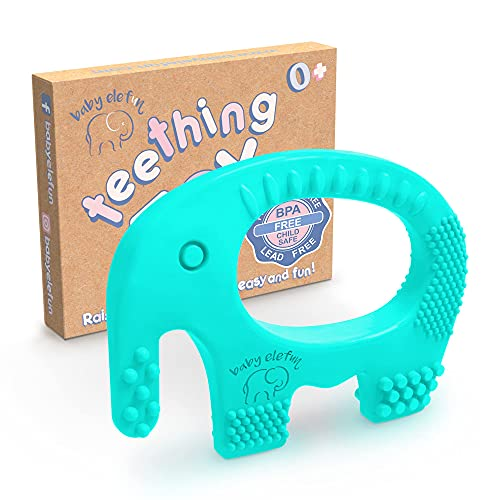 Baby Teething Toys - BPA Free Silicone - Cute, Easy to Hold, Soft and Highly Effective Elephant Teether - Teethers Toy Best for Freezer, Little Boys and Girls 0-6 6-12 Months, Babies Shower Gifts