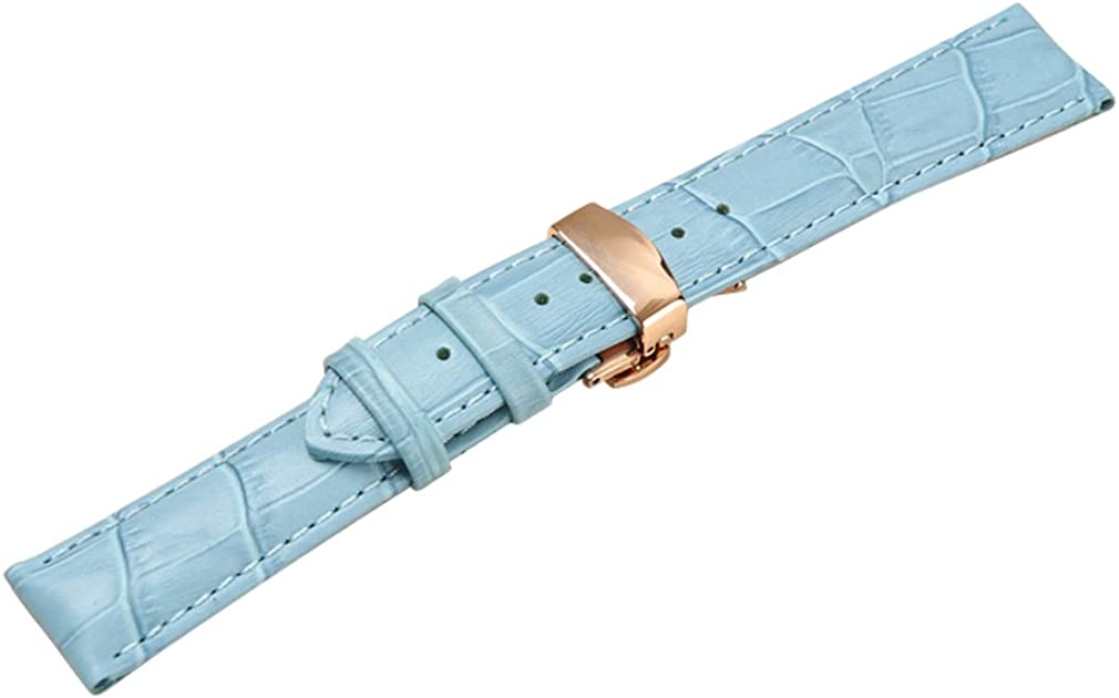 Uyoung 19mm Men's Blue Los Angeles Mall Genuine Crocodile Grain Rose Leather Nippon regular agency Gold