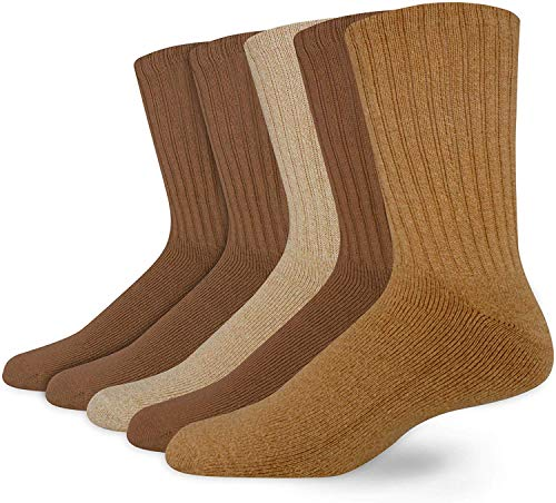 Dockers Men's 5 Pack Cushion Comfort Sport Crew Socks, Khaki (5 Pairs), Shoe Size: 6-12