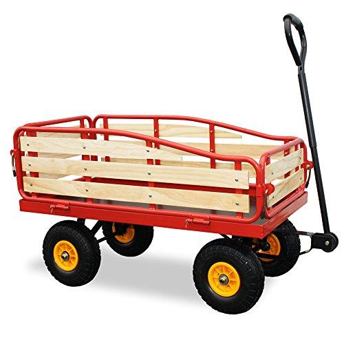 """HABAU Bollerwagen\""""Magnum\"""" mit klappbarer Ladefläche und Vollgummireifen, 124 x 55 x 62 cm"""