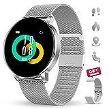 GOKOO Reloj Inteligente Mujeres Hombres con Android iOS Smartwatch Reloj 1.3 Pulgadas Pantalla Completa Táctil Reloj Deportivo Presión Arterial Frecuencia Cardíaca IP67 Impermeable Compatible (Plata)