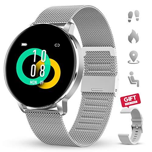 Smartwatch GOKOO 1.3 Zoll HD Voller-Touchscreen Damen Herren für Android IOS Intelligent Uhr IP67 Wasserdicht Fitness Tracker Schrittzähler Pulsuhren Schlafmonitor Frauen Männer Sportuhr (Silber)