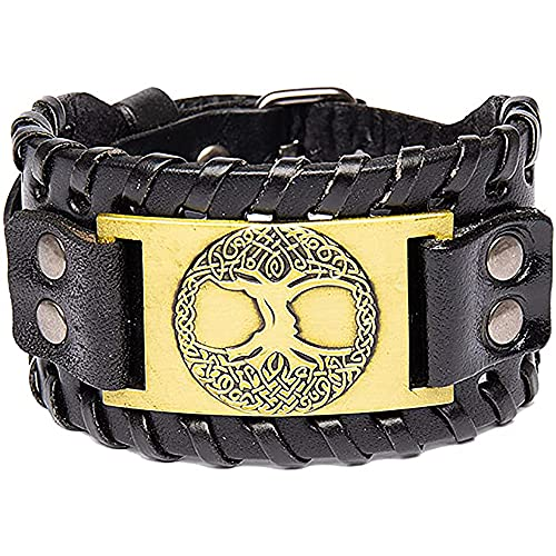 Nórdico Vikingo Árbol De La Vida La Pulsera Hombres Punk Brazalete Trenzado Pulsera De Cuero Gótico Amuleto Pagano,D