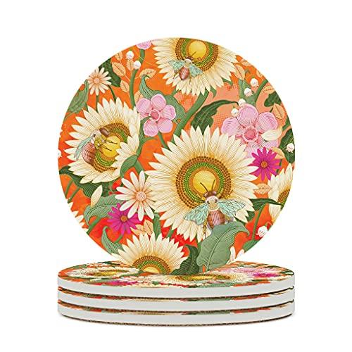 KittyliNO5 Posavasos redondos de cerámica con diseño de abejas, flores y girasol, juego de 4 o 6 posavasos absorbentes con base de corcho para vasos, color blanco, 6 unidades