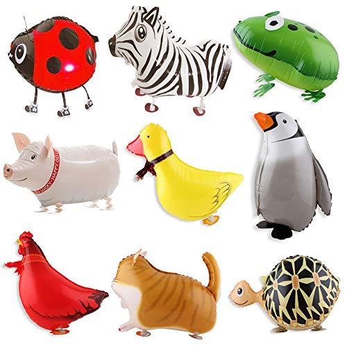 BESTZY 9 STK Walking Tier Folienballon Haustier Ballons Air Walkers Helium Ballon Kit für Kinder Geburtstag Party Dekoration Spielzeug