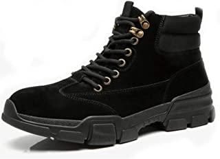 XueQing Pan Ankle Boot for Men Work Boots Contrast Collar Casual Suede Leather & Canvas Lace up Round Toe Non-Slip Rubber Sole Hiking (Color : Black, Size : 7.5 UK)