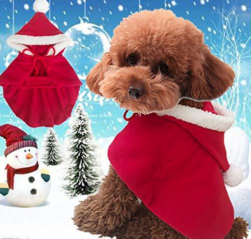 Lanlan Ting Ropa de Navidad para Mascotas Mantón de Navidad para Perros y Gatos Pet Christmas Hat Cloak Caperucita Roja