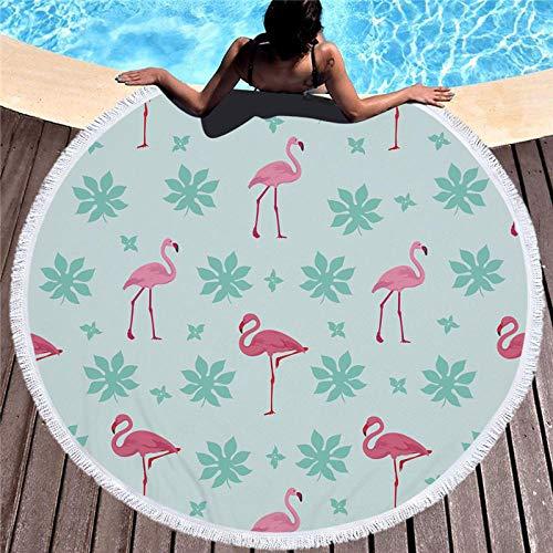 BCDJYFL Microfibra Toalla De Playa Flamingo En Hojas 3D Rectangular Multi-Funcional para Toalla Baño Mantel Nadar Deportes Viajes Decoración.Diámetro: 150Cm