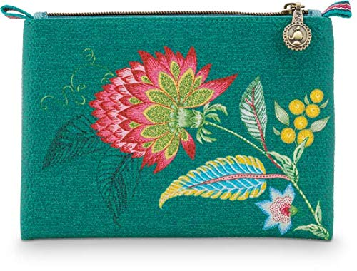 PiP Studio Cosmetic Flat Pouch Small Jambo Flower/Blurred Lines Green 1 cosmeticatas rits