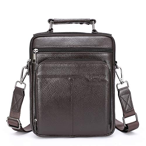 Langzu Handmade Mens Leather Messenger Shoulder Bag CrossBody Briefcase Handbag