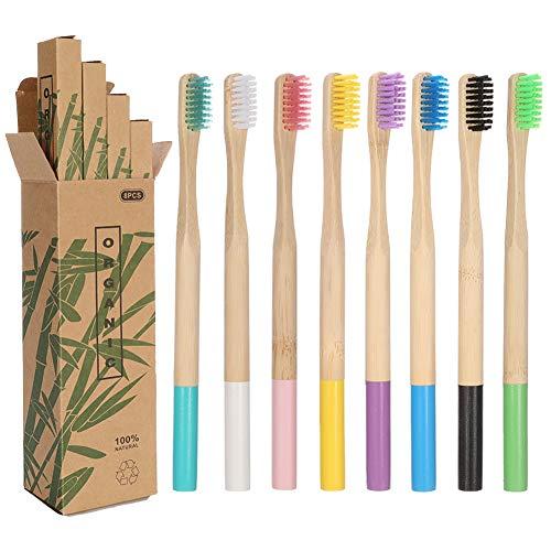 limewie 8er Pack Bambus Zahnbürste Holzzahnbürste, 100% Bio, natürliche, bunte Holzzahnbürste, Nachhaltig, biologisch abbaubare Holzzahnbürsten