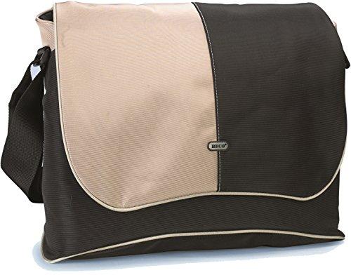 BECO Messenger-Notebook-Tasche  für Notebooks bis zu 19 Zoll widescreen, mit gepolsterter Innentasche, 6 Taschen für Zubehör, mit gepolstertem Schultergurt, Material: Nylon, Farbe: Schwarz/beige, Innenmaße: 45.0 x 32.0 x 5.0 cm, Polybeutel mit farbigem Einleger