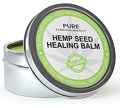 Organic Hemp Seed Oil Cold Pressed Healing Cream, New Improved Formula for Eczema, Psoriasis, Pain, Rash, Jock Itch, Organic Aloe Vera, Coconut, Tamanu, Lavender, Tea Tree Oils 4 ounces from Pure & Essential Minerals.